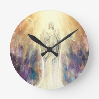 Angel Bathed in Celestial Light Wall Clock