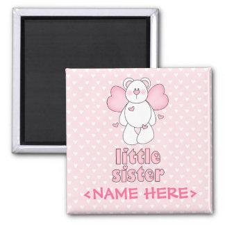 Angel Bear Little Sister Square Magnet