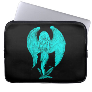Angel , black and green design laptop sleeve