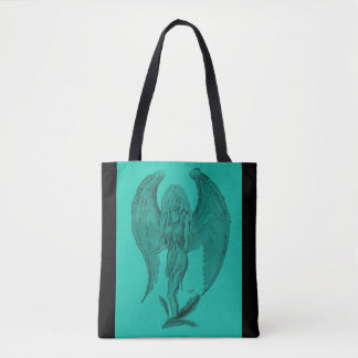 Angel , Black and Green design Tote Bag