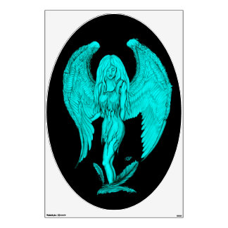 Angel , Black and Green design Wall Sticker