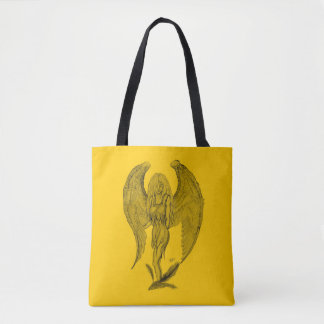 Angel , Black and Yellow design Tote Bag