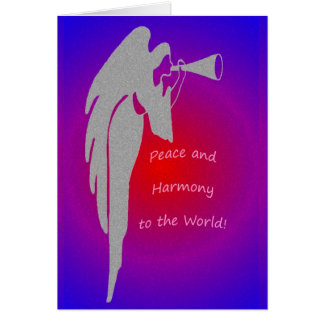 Angel Blowing Horn Blank Greeting Card