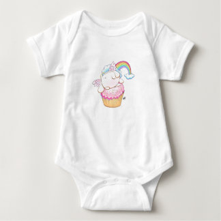 Angel Bunny Riding a Cupcake Baby Bodysuit