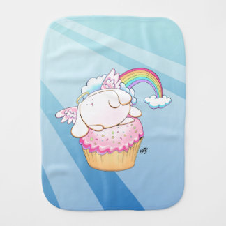 Angel Bunny Riding a Cupcake Baby Burp Cloth