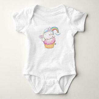 Angel Bunny Riding a Cupcake Cartoon Baby Bodysuit