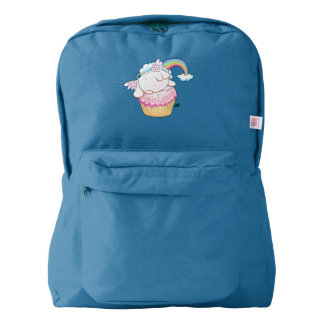 Angel Bunny Riding a Cupcake Cartoon Backpack