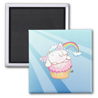 Angel Bunny Riding a Cupcake Magnet