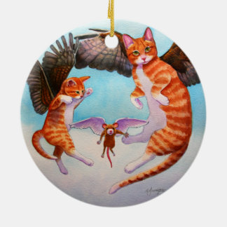 Angel Cat and Mouse Game Christmas Ornament