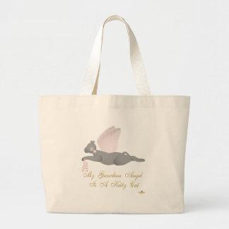 Angel Cat Dark Gray Pink Roses Guardian Angel Kitt Large Tote Bag