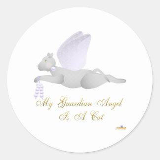Angel Cat Light Gray Purple Roses Guardian Angel C Classic Round Sticker