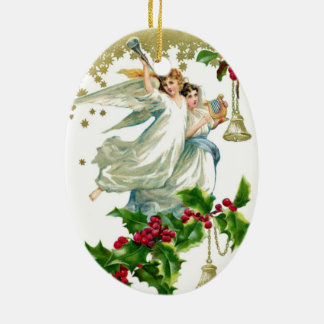 Angel Ceramic Oval Ornament