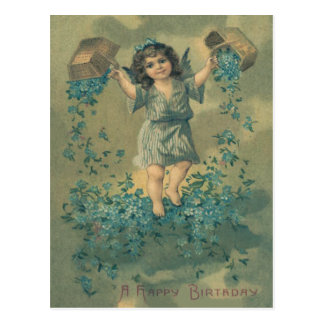 Angel Cherub Basket Forget-Me-Not Postcard