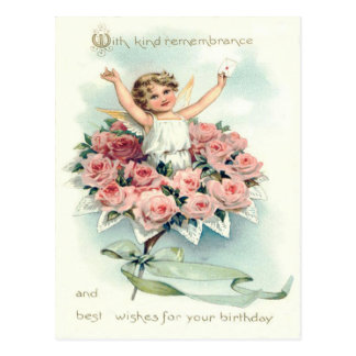Angel Cherub Bouquet of Roses Postcard