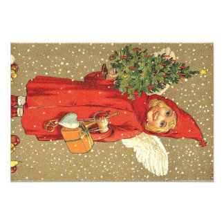 Angel Cherub Christmas Tree Snow Photo Art