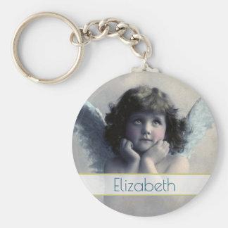 Angel Cherub Holding Her Face In Her Hands Basic Round Button Keychain