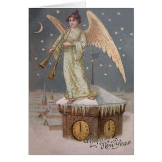Angel Cherub Horn Clock Tower Moon Stars Card