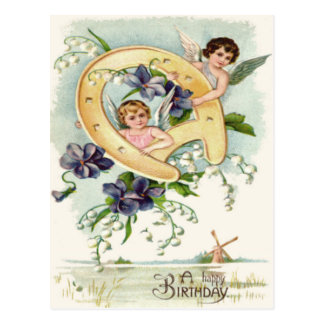Angel Cherub Horseshoe Forget-Me-Not Postcard
