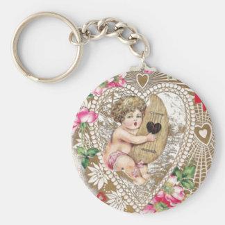 Angel Cherub Vintage Picture Basic Round Button Keychain