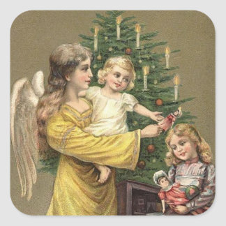 Angel Children and Christmas Tree Square Sticker