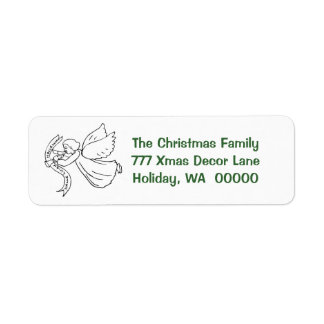 Angel Christmas Cards Envelope Self Addressed Return Address Label