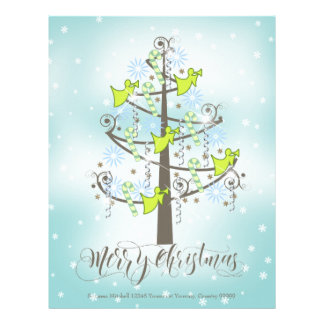 Angel Christmas Tree Blue ID197 Letterhead Template