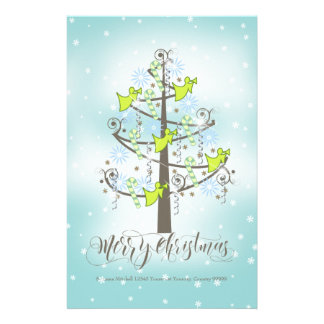 Angel Christmas Tree Blue ID197 Stationery Paper