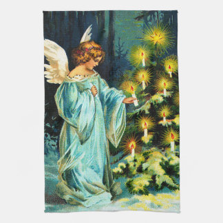 Angel Decorating Christmas Tree Kitchen Towel