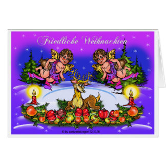 Angel & deer, Christmas Card