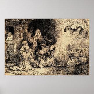 Angel Departing...Tobias, Rembrandt van Rijn 1641 Poster