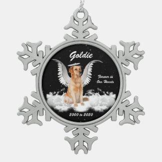 Angel Dog Golden Retriever Memorial Christmas Pewter Snowflake Ornament