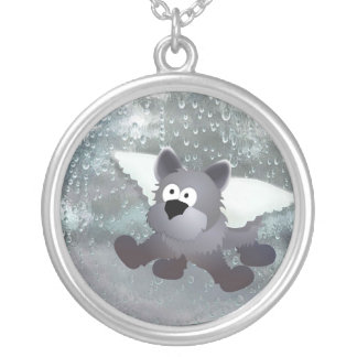 Angel Dog Talisman Silver Plated Necklace