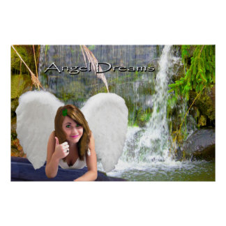 angel dreams beautiful  waterfall thumbs-up serene poster