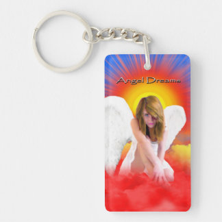 ANGEL DREAMS SUNRISE BEAUTIFUL COLORFUL Single-Sided RECTANGULAR ACRYLIC KEYCHAIN