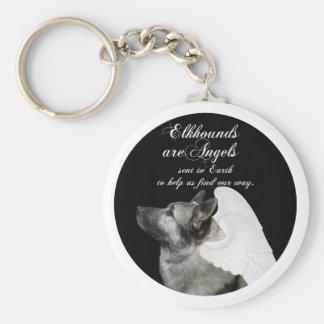 Angel Elkhound Basic Round Button Keychain