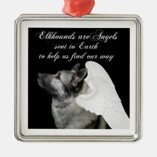 Angel Elkhound Metal Ornament