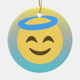 Angel Emoji Ceramic Ornament