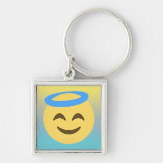 Angel Emoji Silver-Colored Square Keychain