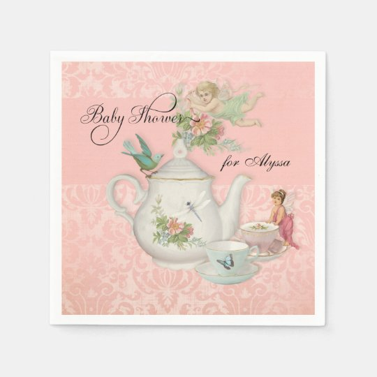 Angel Fairy Teapot Tea Cup Party Baby Shower Decor Disposable Napkin