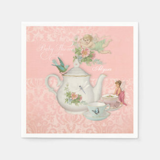 Angel Fairy Teapot Tea Cup Party Baby Shower Decor Paper Napkin