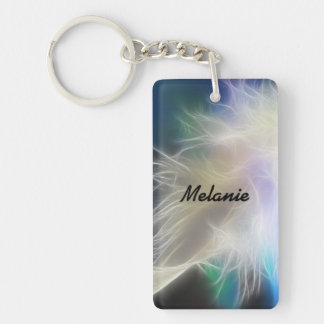 Angel Feather and Name Double-Sided Rectangular Acrylic Keychain