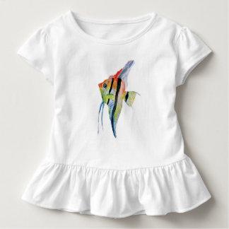Angel Fish Butterflies Toddler Ruffle Tee, White Tee Shirts