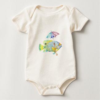 Angel Fish With Umbrella Baby Bodysuit
