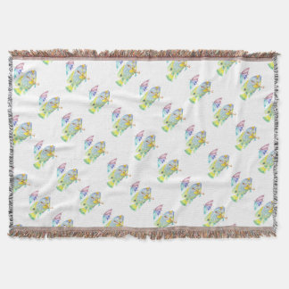 Angel Fish With Umbrella Throw Blanket
