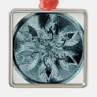 Angel Flower Circle Silver-Colored Square Ornament