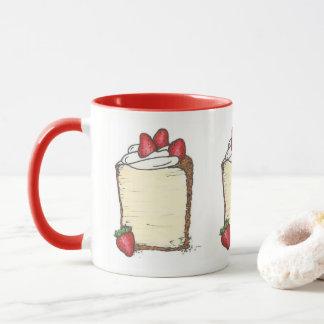 Angel Food Cake Slice Strawberries Dessert Foodie Mug