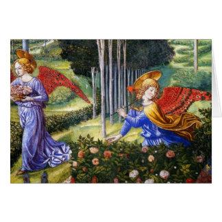 Angel Gathering Flowers in a Heavenly Landscape Card