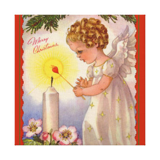 Angel Girl Candle  Flowers Vintage Canvas Print