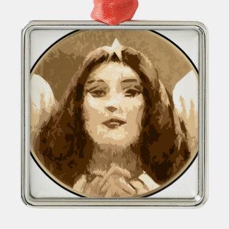 Angel Grace Silver-Colored Square Ornament
