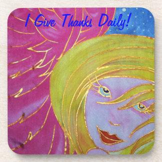 Angel Gratitude Cork Coaster: Silks by Cyn Mc Coasters